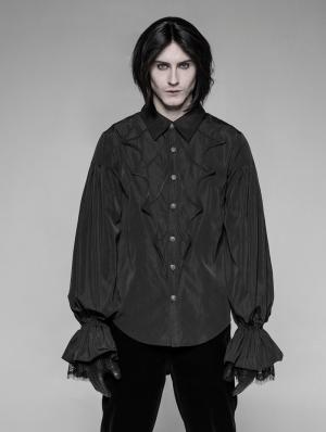Black Gothic Bat Lantern Sleeve Blouse for Men