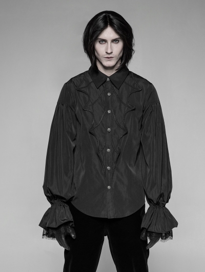 Black Gothic Bat Lantern Sleeve Blouse for Men