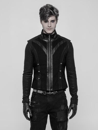 Black Gothic Punk Rough Vest for Men