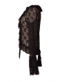 Black Long Trumpet Sleeves Lace Gothic Top Outfits