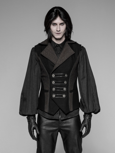 Black Gothic Steampunk Men's Vest