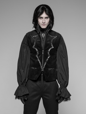 Black Gothic Bat Collar Velvet Vest for Men