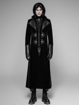 Black Detachable Gentleman Style Gothic Jacket for Men
