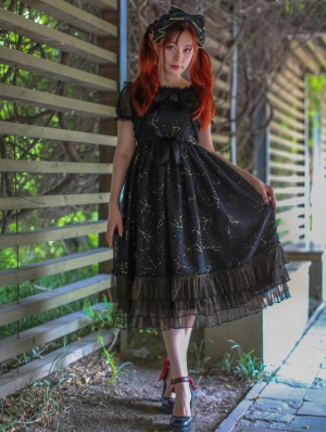 Neverland Constellation Prints Gold Stamping Gothic Lolita Jumper Dress