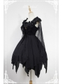 Neverland Dark Ballet Gothic Lolita OP Dress with Detachable Lace Cape