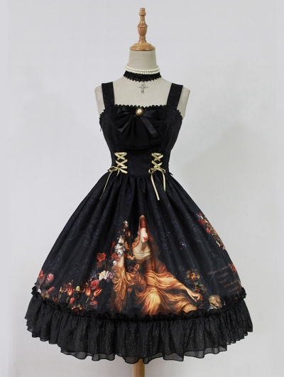 Neverland Song of Time Oil Painting Printed Lolita Jumper Dress