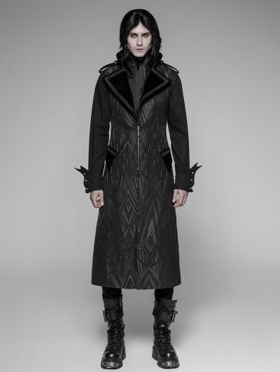 Black Gothic Punk Pattern Long Vest for Men