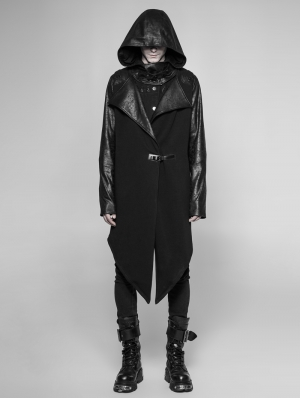 Black Gothic Punk Long Hooded Cardigan for Men