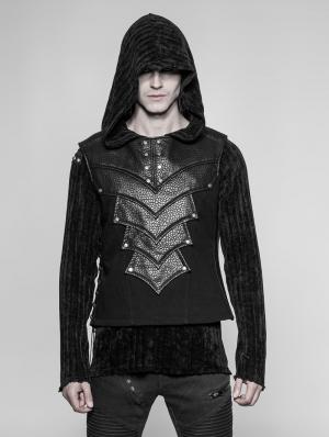 Black Gothic Punk Chest Protector Vest Top for Men