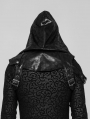 Black Gothic Punk Hooded Accessory for Men