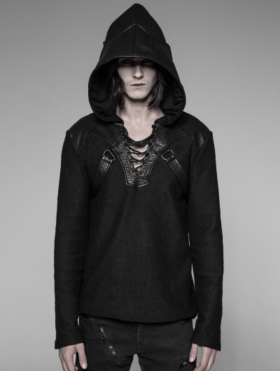 Black Gothic Punk Pullovers Sweater for Men