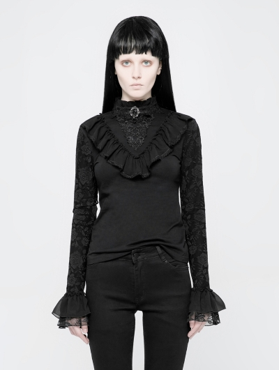 Black Gothic Lolita Stand Collar Lace T-Shirt for Women