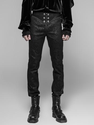 Black Retro Gothic Trousers for Men