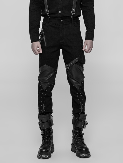 Black Gothic Punk Casual Trousers for Men