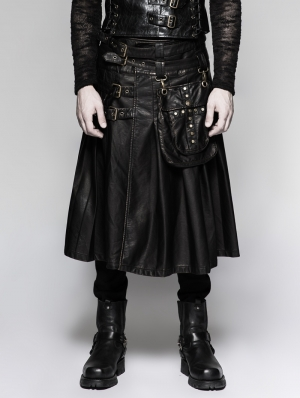 Black Gothic Punk Heavy Metal Leather Skirt for Men