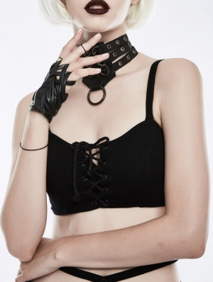 Gothic Punk Cross Gloves for Women
