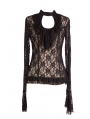 Black Long Sleeves Keyhole Womens Gothic Top
