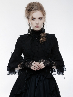 Black Gothic Lolita Lace Gloves