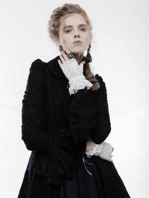 White Gothic Lolita Lace Gloves