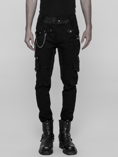Black Gothic Male Heavy Punk Metal Trousers