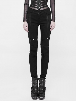 Black Gothic Punk Long Denim Pants for Women