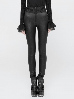 Black Gothic Jacquard High Waist Pants for Women