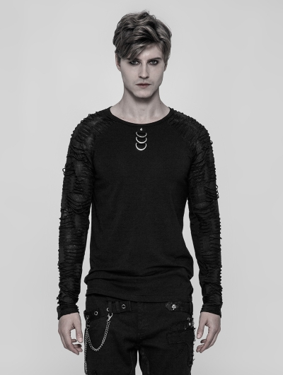 Black Gothic Punk Men's Long Sleeve T-shirt