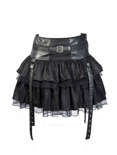 Black Layers Short Mini Gothic Skirt