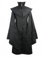 Black Men's Gothic Long Coat with Detachable Cape