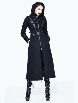 Black Gothic Long Hooded Coat for Women