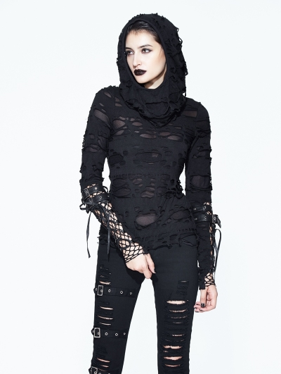 Black Gothic Hole Hooded Long Sleeves Shirt for Women