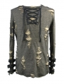 Steampunk Long Sleeves Hole Knit Shirt for Men