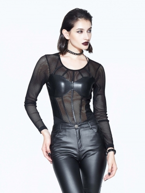 Black Sexy Gothic Net Corset Top Shirt for Women
