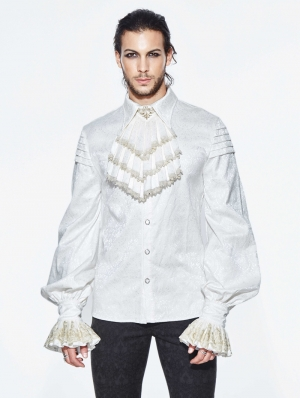 White Gothic Retro Palace Style Men's Blouse with Detachable Bo../upload/20180730/WTie