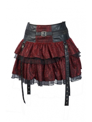 Red Layers Short Mini Gothic Skirt