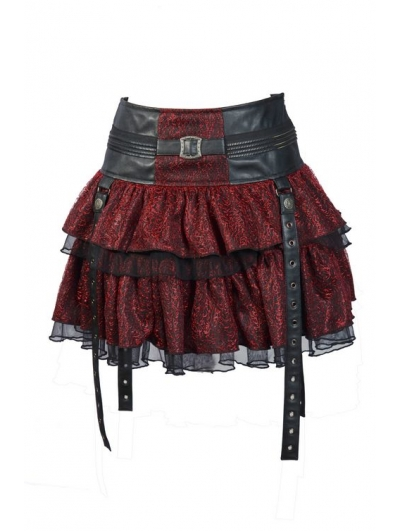Red Layers Short Mini Gothic Skirt