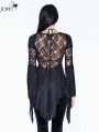 Black Sexy Gothic Flower Beading Short Top for Women