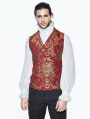 Red Gothic Vintage Double-breasted Waistcoat for Men