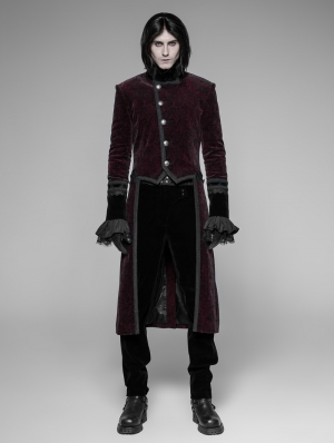 Red Velvet Gothic Tuxedo Coat for Men