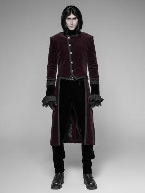 Red Velvet Gothic Tuxedo Coat for Men