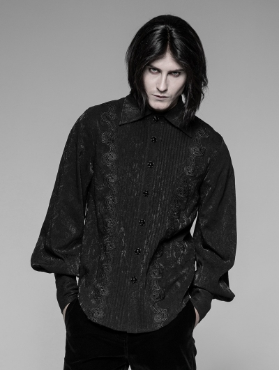 Black Gothic Jacquard Daily Blouse for Men
