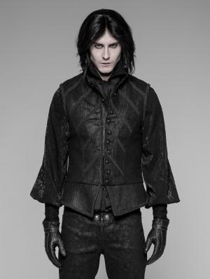 Black Gothic Victorian Retro Court Vest for Men