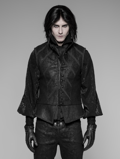 Black Gothic Victorian Retro Court Vest for Men