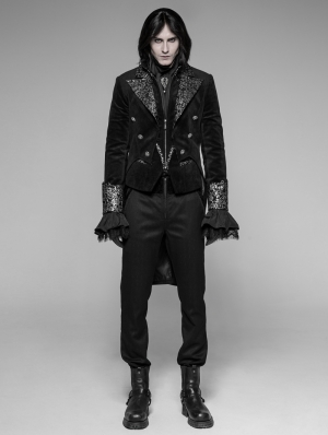 Black Velvet Gothic Swallow Tail Coat for Men