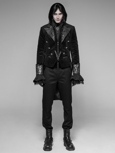 Black Velvet Gothic Swallow Tail Coat for Men