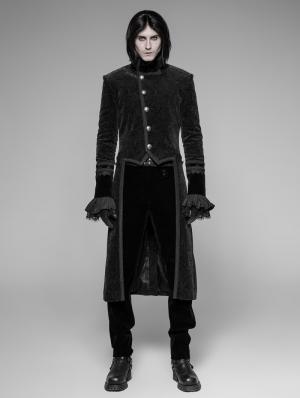 Black Velvet Gothic Tuxedo Coat for Men