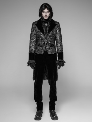 Sliver Vintage Gothic Swallow Tail Coat for Men