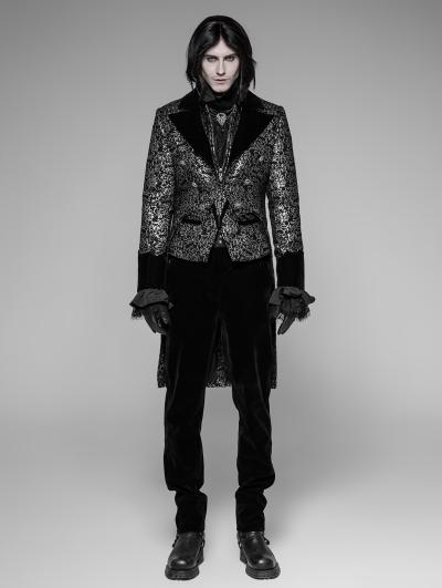 Sliver Vintage Gothic Swallow Tail Coat for Men