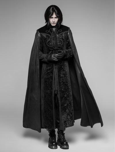 Black Gothic Night Count Vampire Long Cloak Coat