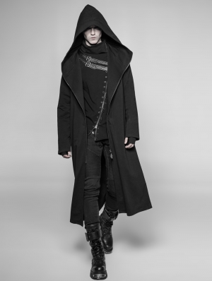 Black Gothic Dark Long Hooded Casual Coat for Men